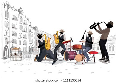 Series of the street cafes with fashion people, men and women, in the old city. Street musicians in the city. Jazz band. Hand drawn vector illustration with retro buildings.