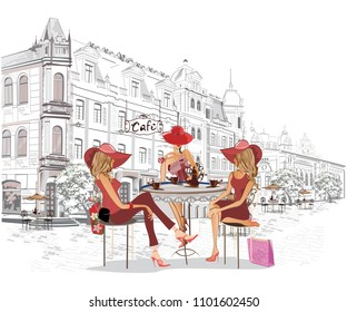 Series of the street cafes with people, men and women, in the old city, vector illustration.  Woman in red hat.