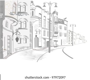 Series of the street sketches in the old city