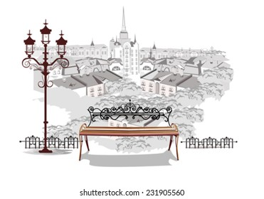 Series of street views in the old city - top view over the roofs of the houses and a romantic bench