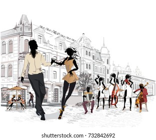 Series of the streets with musicians and dancing couples in the old city. Hand drawn vector illustration with retro buildings.