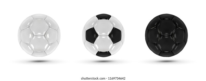 A series of three balls on a white background. Black ball, white ball and black and white ball. Balls glossy.Football. Balls in vector. The 3D Effect.