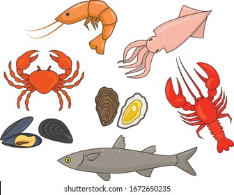 A series of vector illustrations with seafood.