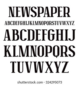 Serif font in newspaper style. Bold face. Black print on white background