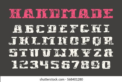 Serif font and numerals in the style of drawn graphics