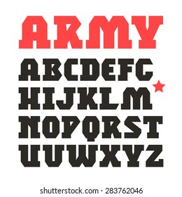 Serif geometric font in military style. Black print on white background