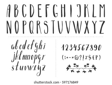 Serif hand drawn thin font. Vector. Isolated
