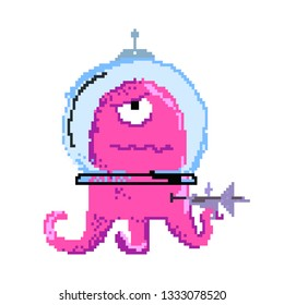 Serious alien wearing spacesuit. Pixel monster in helmet holding weapon. Can be used for topics like invader, videogame, sci-fi