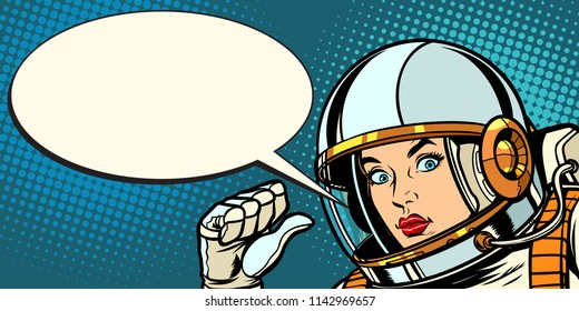 serious astronaut woman points at herself. Pop art retro vector vintage kitsch illustration drawing