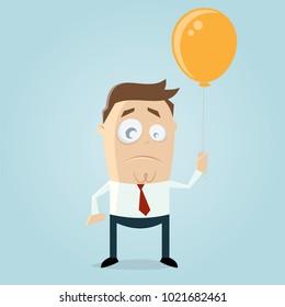 serious businessman holding a balloon