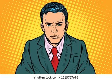 serious businessman man. Pop art retro vector illustration vintage kitsch