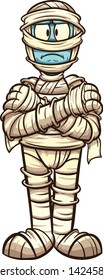 Serious cartoon mummy with crossed arms clip art. Vector illustration with simple gradients. All in a single layer. \r