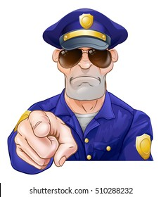 Serious cartoon police officer policeman pointing