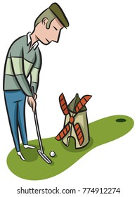 Serious golfer putts on the mini-golf course