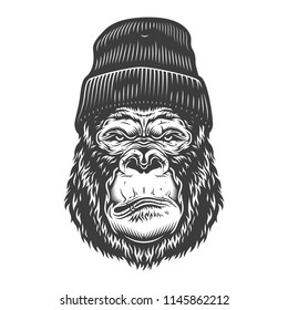 Serious gorilla in monochrome style in beanie hat. Vector illustration