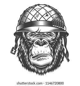 Serious gorilla in monochrome style in soldier helmet. Vector illustration