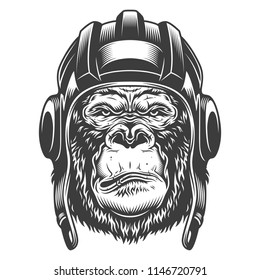 Serious gorilla in monochrome style in the tank helmet. Vector illustration