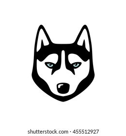 Serious husky dog head logo. Animal icon.