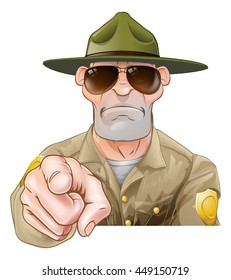 A serious looking cartoon park or forest ranger pointing