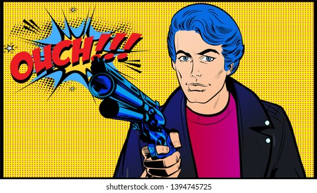 Serious Man with pistol. Murderous Gangster with machine gun in Pop Art style illustration. Comic book artwork, Vintage retro vector poster.