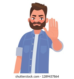 Serious man shows stop gesture. Vector illustration in cartoon style