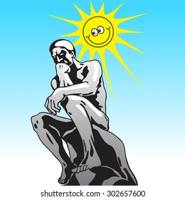 Serious naked man and smiling sun.Thinker, Rodin's famous statue - vector image in cartoon style