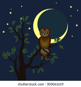 Serious owl on the tree in the night. Vector illustration. Cartoon style.
