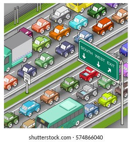 Serious traffic jam on freeway (isometric illustration)