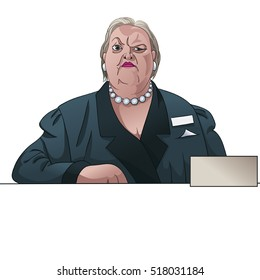 Serious  woman registrar or inspector behind the counter