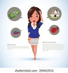 serious women with icons. money. car. house. broken heart - vector illustration