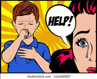 Serious worried crying mother with sick child asking for help. Little boy is coughing. What happened to my child? Pop Art Vector vintage illustration artwork