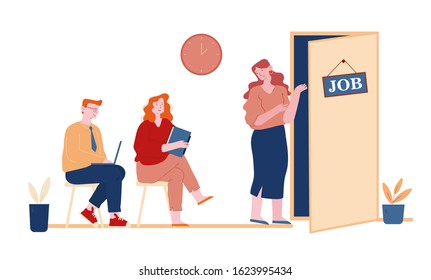 Serious Young Man and Woman with Cv Sitting on Chairs in Waiting Room Setting Mind Up Before Job Interview or Meeting with Potential Business Partners. Cartoon Flat Vector Illustration, Line Art