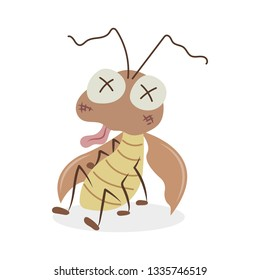 A seriously injured cockroach vector illustration cartoon. Cockroach almost died. Pastel cockroach cartoon isolated on white background.