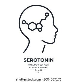 Serotonin editable stroke outline icon isolated on white background flat vector illustration. Pixel perfect. 64 x 64.