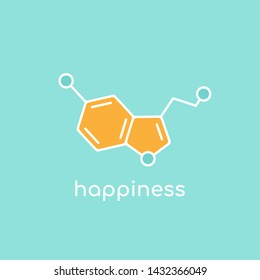 Serotonin molecular structure. neurotransmitter molecule. Happyness funny concept. Skeletal chemical formula. Hormone of happiness and joy. Vector line illustration isolated on blue
