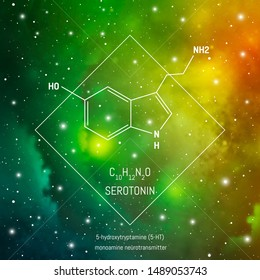 Serotonin neiro transmitter molecule and formula in front of cosmis background. Brain chemistry infographic.
