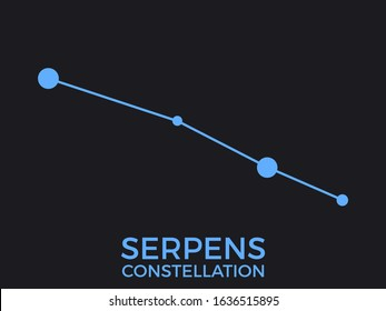 Serpens constellation. Stars in the night sky. Cluster of stars and galaxies. Constellation of blue on a black background. Vector illustration