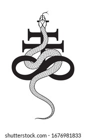 Serpent over the Leviathan Cross alchemical symbol of sulphur line art and dot work. Boho chic tattoo, poster, tapestry or altar veil print design vector illustration