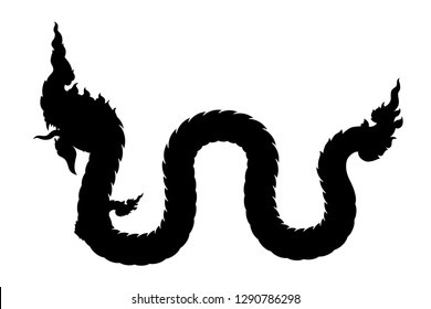 Serpent silhouette vector. King of Nagas. Great Naga.