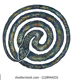 Serpent (snake) eating its own tail (ouroboros). Sacred energy Kundalini.