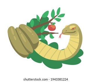 Serpent or Snake of Temptation in the Garden of Eden as Narrative from Bible Vector Illustration