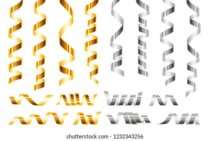 Serpentine golden ribbons icon set. Realistic set of serpentine golden ribbons vector icons for web design isolated on white background