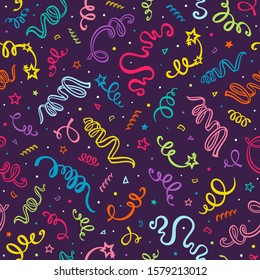 Serpentine ribbon seamless pattern. Carnival party serpentine and confetti decoration. The decor for the holiday.