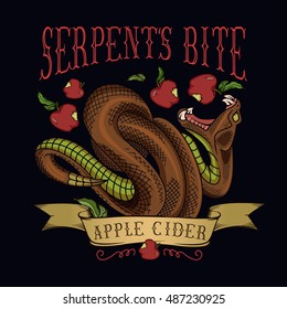 """Serpent's bite"" apple cider label. Vector illustration of viper snake biting an apple."