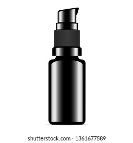 Serum Bottle. Black Foundation or Collagen Vial. Hair Cosmetic Essence Shiny Package. Glossy Template with Pump Dispenser for Moisturiser, Concealer, Tonal Base. Toner Fluid.