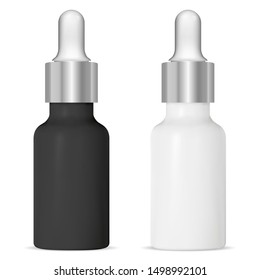 Serum dropper bottle. Black, white cosmetic vial. Eyedropper medicine treatment mock up. Natural essential oil plastic container. Silver cap pot with pipette for collagen liquid