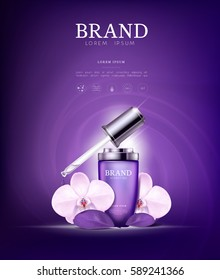 Serum essence orchid flower with dropper in bottle. Skin care collagen hyaluronic moisture formula treatment with honeycomb design elements. Anti age drops DNA helix protection and lifting solution