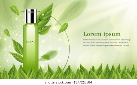 Serum with green leaves and shining light