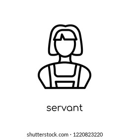 servant icon. Trendy modern flat linear vector servant icon on white background from thin line Hotel collection, outline vector illustration
