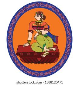 servents or known as gopika or dasi of lord Krishna painted in Kalamkari/Madhubani style, Indian folk art for fabric painting